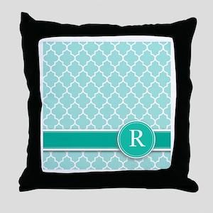 Letter R turquoise quatrefoil monogram Throw Pillo