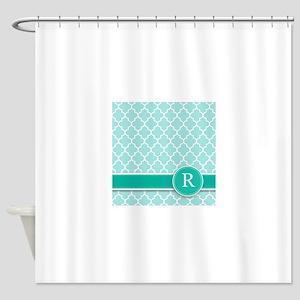 Letter R turquoise quatrefoil monogram Shower Curt