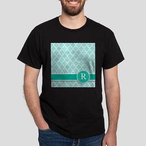 Letter R turquoise quatrefoil monogram T-Shirt