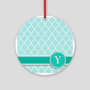 Letter Y turquoise quatrefoil monogram Ornament (R