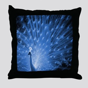 Peacock - Blue Throw Pillow