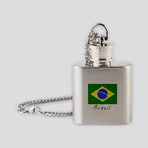 Brazil (Flag, International) Flask Necklace