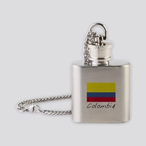Colombia (Flag, World) Flask Necklace