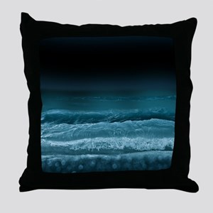 Night Ocean Waves Throw Pillow