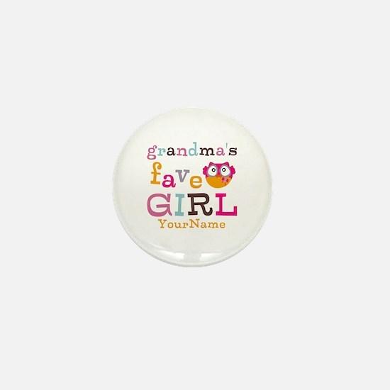 Grandmas Favorite Girl Personalized Mini Button