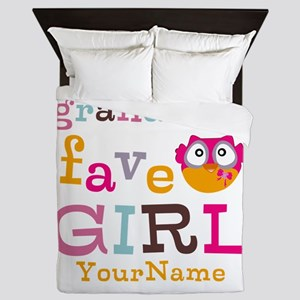 Grandmas Favorite Girl Personalized Queen Duvet