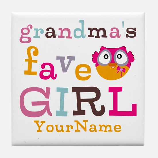 Grandmas Favorite Girl Personalized Tile Coaster