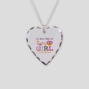 Grandmas Favorite Girl Personalized Necklace Heart