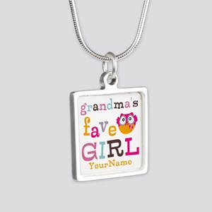 Grandmas Favorite Girl Personalized Silver Square