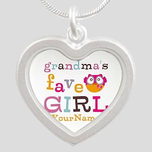 Grandmas Favorite Girl Personalized Silver Heart N