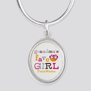 Grandmas Favorite Girl Personalized Silver Oval Ne