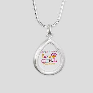 Grandmas Favorite Girl Personalized Silver Teardro
