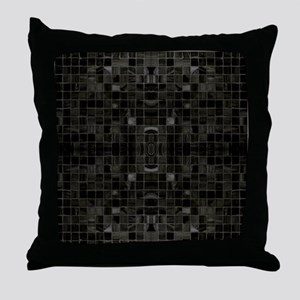 Black Mosaic Tiles Throw Pillow