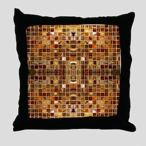 Gold Mosaic Tile Pattern Throw Pillow