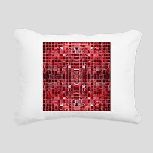 Red Mosaic Tiles Rectangular Canvas Pillow