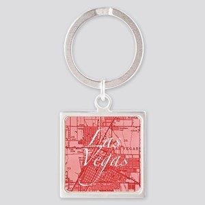 Vintage Las Vegas Red Square Keychain