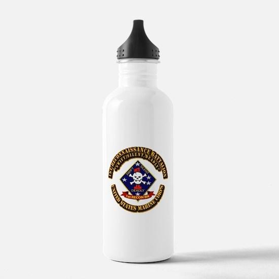 1st - Reconnaissance Bn With Text USMC Water Bottle