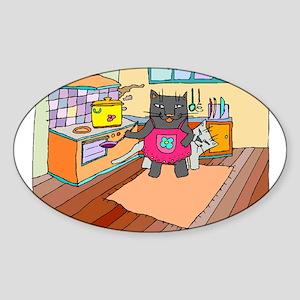 Cat Chef Oval Sticker
