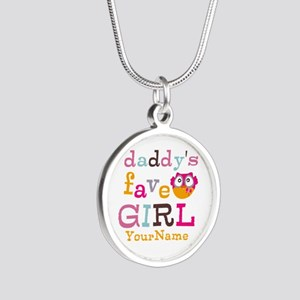 Daddys Favorite Girl Personalized Silver Round Nec