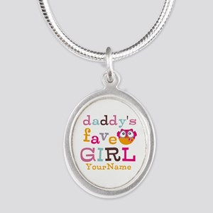 Daddys Favorite Girl Personalized Silver Oval Neck
