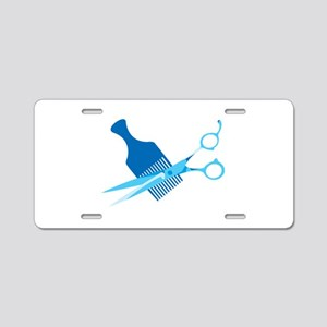 Scissors and Comb Aluminum License Plate