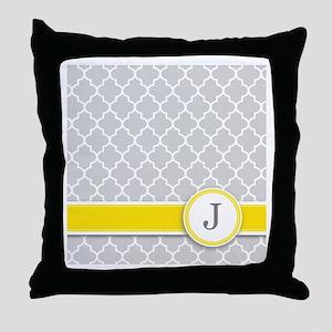 Letter J grey quatrefoil monogram Throw Pillow
