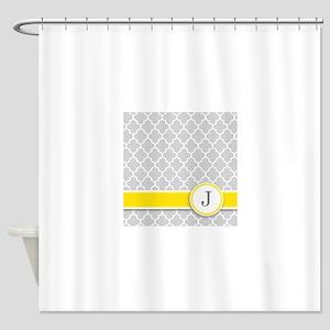 Letter J grey quatrefoil monogram Shower Curtain