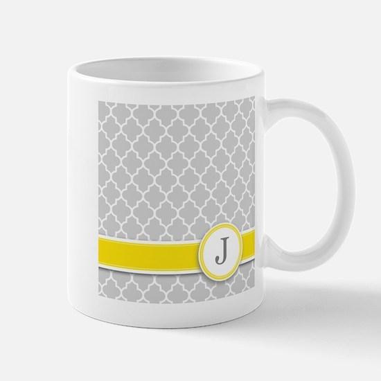 Letter J grey quatrefoil monogram Mugs