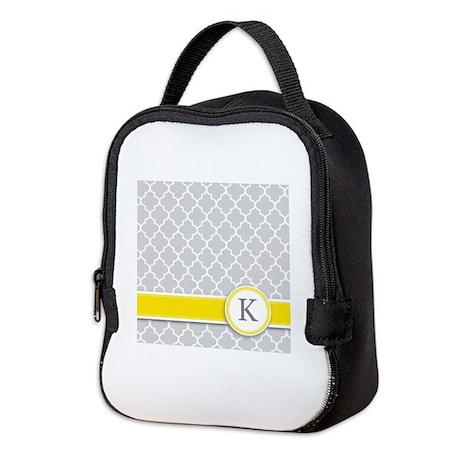 Letter K grey quatrefoil monogram Neoprene Lunch B