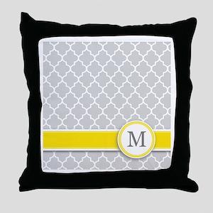Letter M grey quatrefoil monogram Throw Pillow