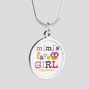 Mimis Favorite Girl - Personalized Silver Round Ne