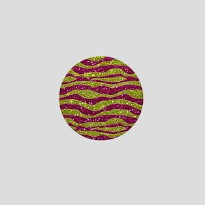 Glitters Yellow Pink Zebra Stripes Mini Button