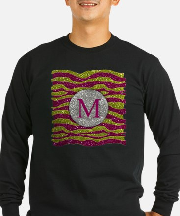 Monogram Glitters Yellow Pink Zebra Stripes T