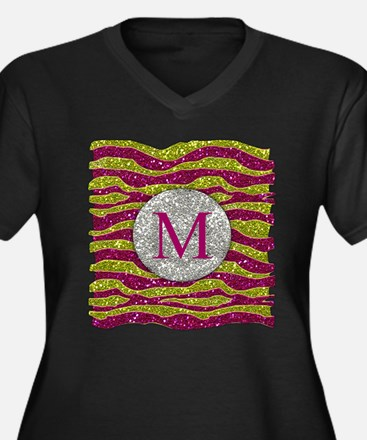 Monogram Glitters Yellow Pink Zebra Stripes Plus S