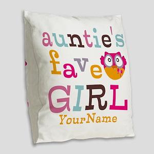 Personalized Aunties Favorite Girl Burlap Throw Pi