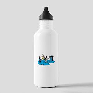 blue cartoon band Water Bottle