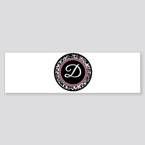Letter D girly black monogram Bumper Sticker