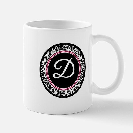 Letter D girly black monogram Mugs