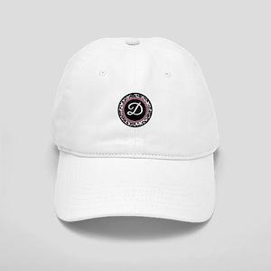 Letter D girly black monogram Baseball Cap