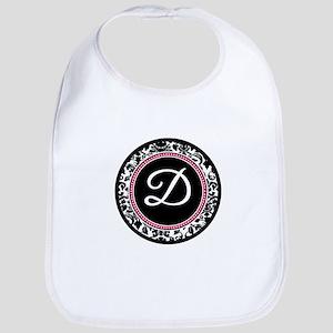 Letter D girly black monogram Bib