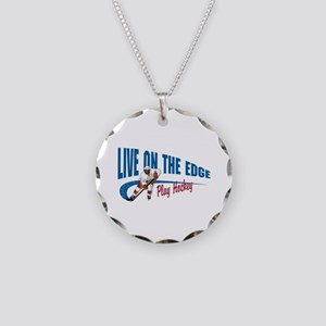 Hockey Player Necklace Circle Charm