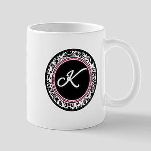 Letter K girly black monogram Mugs