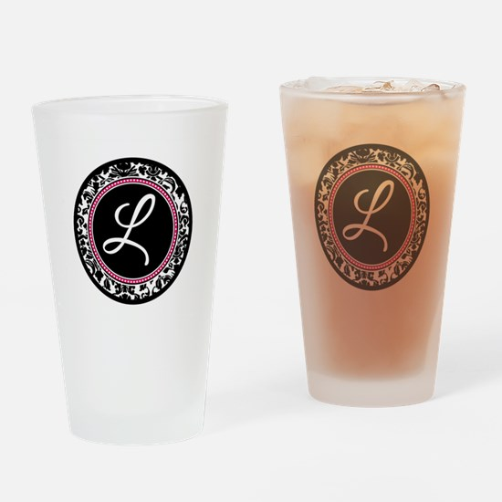 Letter L girly black monogram Drinking Glass