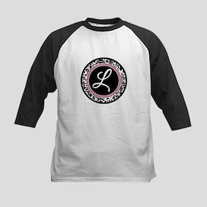 Letter L girly black monogram Baseball Jersey