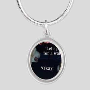 Walking Dogs Silver Oval Necklace