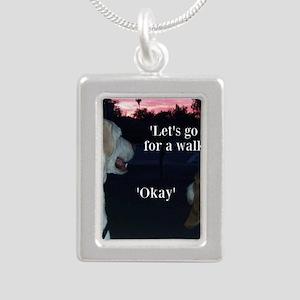 Walking Dogs Silver Portrait Necklace