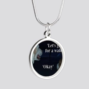 Walking Dogs Silver Round Necklace