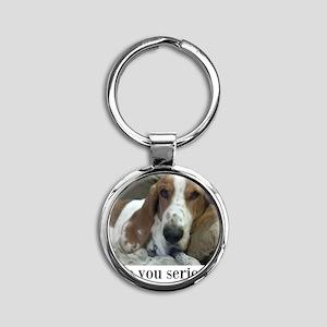 Annoyed Dog Round Keychain
