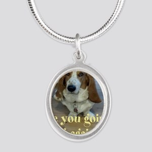 Angry Dog Silver Oval Necklace