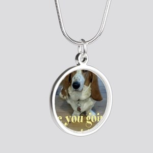 Angry Dog Silver Round Necklace